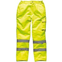 Dickies Mens High Vis Trousers Yellow XL