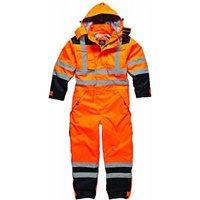 Dickies Mens High Vis Waterproof Safety Overalls Orange / Navy XL