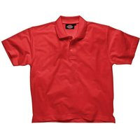 Dickies Mens Short Sleeve Polo Shirt Red L