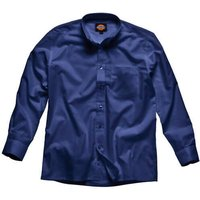 Dickies Mens Oxford Weave Long Sleeve Shirt Navy Size 16