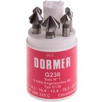 Dormer G2365 6 Piece HSS Tialn Tri Flat Straight Shank 90  Countersink Set