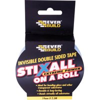 Everbuild Stixall On A Roll Double Sided Tape Clear 19mm 2.5m