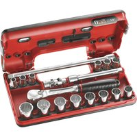 Facom 17 Piece 3/8 Drive Bi Hex Socket Set Metric in Detection Box 3/8