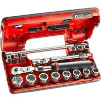 Facom 18 Piece 3/8 Drive Hex Socket Set Metric in Detection Box 3/8
