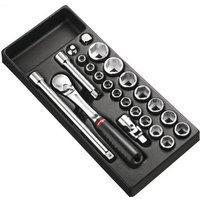 Facom 23 Piece 1/2 Drive Socket Set Metric in Module Tray 1/2