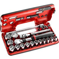 Facom 21 Piece 1/2 Drive Extendable Ratchet & Hex Socket Set Metric in Detection Box 1/2
