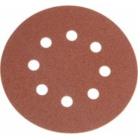 Faithfull 125mm Hook and Loop Aluminium Oxide Sanding Discs 125mm 240g Pack of 25