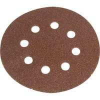 Faithfull 125mm Hook & Loop Perforated Sanding Discs 125mm Medium Fine Pack of 5