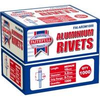 Faithfull Aluminium Pop Rivets 3mm 10mm Pack of 1000