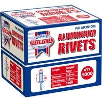 Faithfull Aluminium Pop Rivets 3mm 6mm Pack of 1000