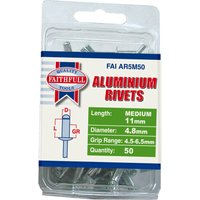 Faithfull Aluminium Pop Rivets 4.8mm 11mm Pack of 50