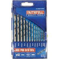 Faithfull 13 Piece HSS Drill Bit Set