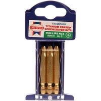 Faithfull Titanium Coated Phillips Screwdriver Bit PH3 50mm Pack of 3