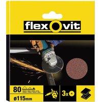 Flexovit Aluminium Oxide Fibre Discs 115mm 80g Pack of 3