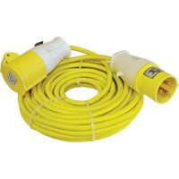 Faithfull Extension Trailing Lead 16 amp Yellow Cable 110v 14m
