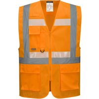 Glowtex Ezee Zip Front Executive Hi Vis Waistcoat Orange S