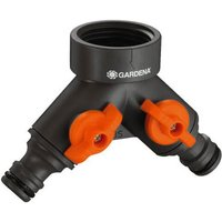 Gardena Small Dual Output Hose Pipe Threaded Tap Connector 21mm