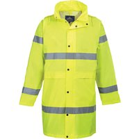 Portwest Hi Vis Long Rain Coat Yellow 4XL