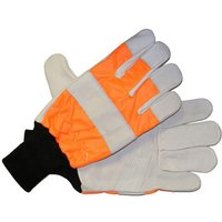 Handy Chainsaw Gloves with One Hand Protection Orange XL