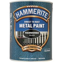 Hammerite Hammered Finish Metal Paint Black 5000ml