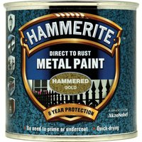 Hammerite Hammered Finish Metal Paint Gold 250ml
