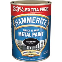 Hammerite Smooth Finish Metal Paint Black 997ml