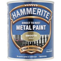 Hammerite Smooth Finish Metal Paint Gold 750ml