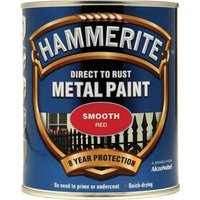 Hammerite Smooth Finish Metal Paint Red 750ml
