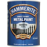 Hammerite Smooth Finish Metal Paint Silver 5000ml
