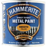 Hammerite Smooth Finish Metal Paint Yellow 250ml