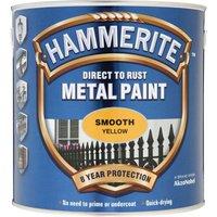 Hammerite Smooth Finish Metal Paint Yellow 2500ml