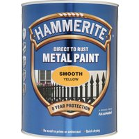 Hammerite Smooth Finish Metal Paint Yellow 5000ml
