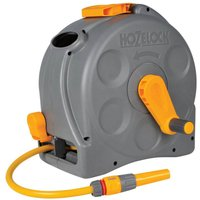 "Hozelock Compact Enclosed Floor & Wall Mounted Hose Reel 1/2"" / 12.5mm 25m Grey & Yellow"