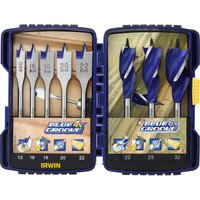 Irwin Blue Groove 8 Piece Auger and Flat Wood Drill Bit Set