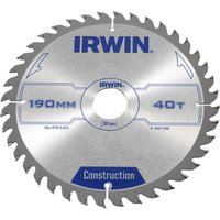 Irwin ATB Construction Circular Saw Blade 190mm 40T 30mm