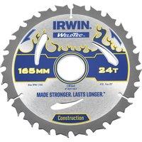 Irwin Weldtec Construction Saw Blade 165mm 24T 30mm