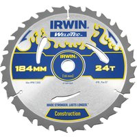 Irwin Weldtec Construction Saw Blade 184mm 24T 16mm