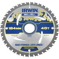 Irwin Weldtec Construction Saw Blade 184mm 40T 30mm