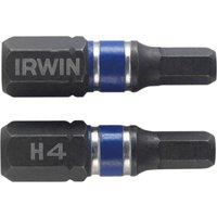 Irwin Impact Hexagon Screwdriver Bit 4mm 25mm Pack of 2