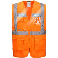Portwest Orion Executive Class 2 Hi Vis LED Waistcoat Orange 2XL