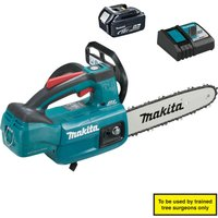 Makita DUC254 18v Cordless LXT Brushless Top Handled Chainsaw 1 x 5ah Li-ion Charger
