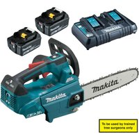 Makita DUC256Z 18v Cordless LXT Brushless Top Handled Chainsaw 2  x 6ah Li-ion Charger