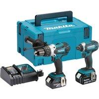 Makita DLX2145 18v Cordless LXT Combi Drill & Impact Driver Kit 2 x 5ah Li-ion Charger Case
