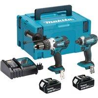 Makita DLX2145 18v Cordless LXT Combi Drill & Impact Driver Kit 2 x 3ah Li-ion Charger Case