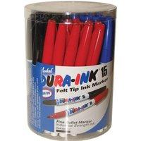 Markal Dura Ink 15 Fine Bullet Tip Permanent Marker Pen Tub Assorted Pack of 48