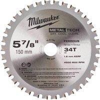 Milwaukee Endurance Metal Steel Cutting Circular Saw Blade 150mm 34T 20mm