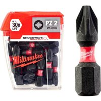 Milwaukee Shockwave Impact Pozi Screwdriver Bit PZ2 25mm Pack of 25