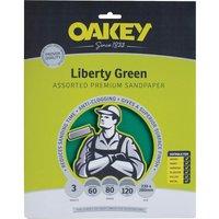 Oakey Green Aluminium Oxide Sandpaper Assorted Grit Pack of 3