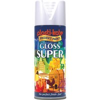 Plastikote Super Gloss Aerosol Spray Paint White 400ml