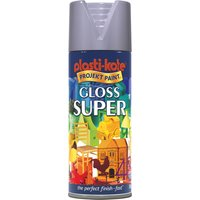 Plastikote Super Gloss Aerosol Spray Paint Aluminium 400ml